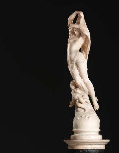 An Italian white marble figure