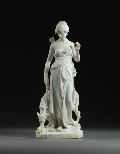 A French white marble figure e