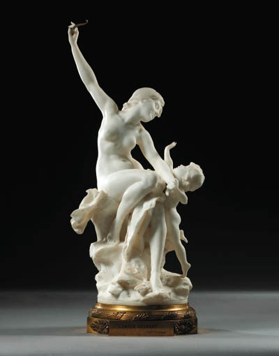A French white marble group en