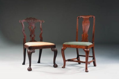 TWO SIDE CHAIRS A GEORGE I WAL