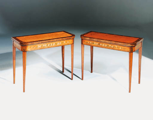 A PAIR OF SATINWOOD AND POLYCH