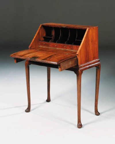 A WALNUT BUREAU-ON-STAND