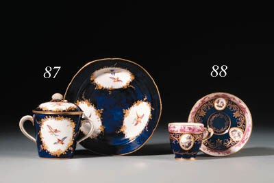 A Sevres blue-ground cup and s