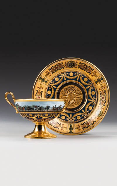 A Sevres blue-ground two-handl