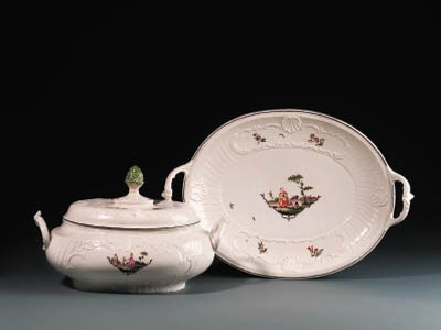 A Weesp two-handled tureen, co