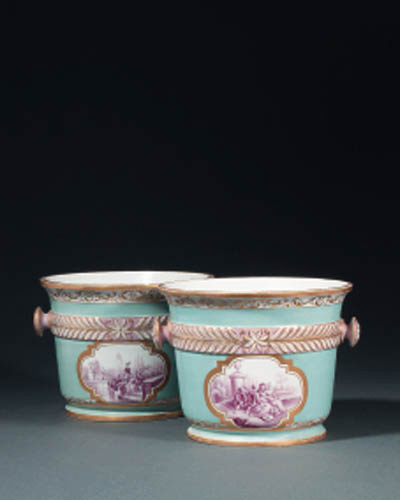 A pair of Frstenberg two-handled turquoise-ground ice-pails