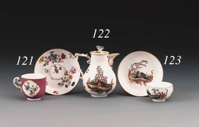 A Meissen teacup and saucer fr