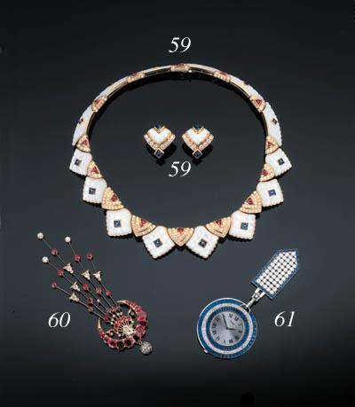 A Diamond and Sapphire Watch,