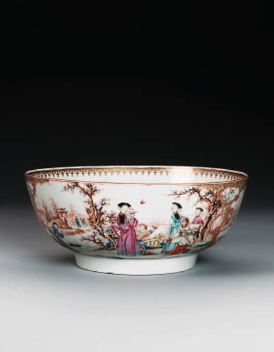A FAMILLE ROSE PUNCH BOWL