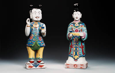 TWO LARGE FAMILLE ROSE FIGURES