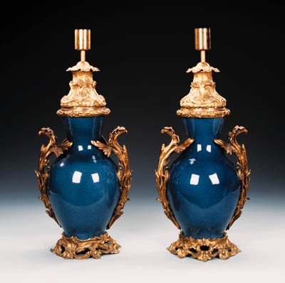 A PAIR OF ORMOLU-MOUNTED POWDE