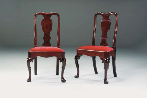 A SET OF FOUR GEORGE II MAHOGA
