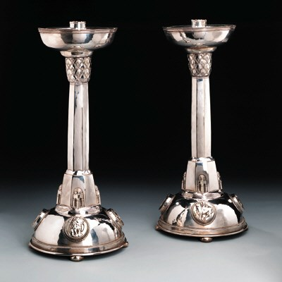 A Pair of Silver Plated Candle