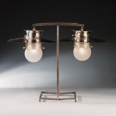 An alpacca table lamp
