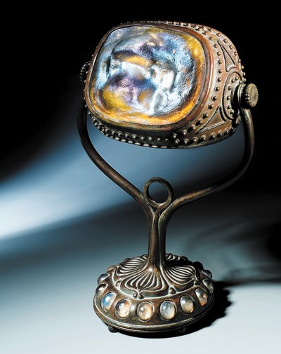 A Bronze and Favrile Glass Tur