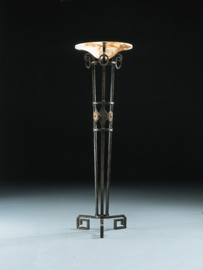 A Wrought Iron and Alabaster F