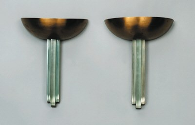 A Pair of Gilt Metal and Glass