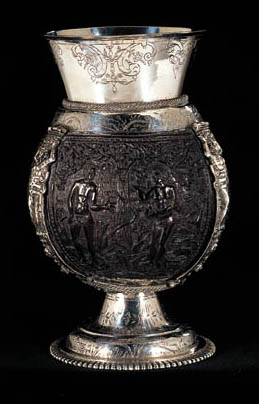A DUTCH SILVER-MOUNTED COCONUT