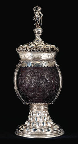 A SILVER-MOUNTED COCONUT CUP A