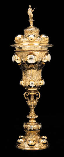 A GERMAN SILVER-GILT CUP AND COVER