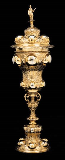 A GERMAN SILVER-GILT CUP AND C