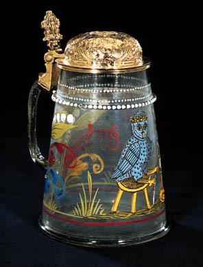 A GERMAN SILVER-GILT MOUNTED ENAMELLED GLASS TANKARD