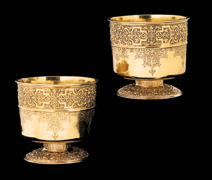 A PAIR OF GERMAN SILVER-GILT BEAKERS (setzbecher)