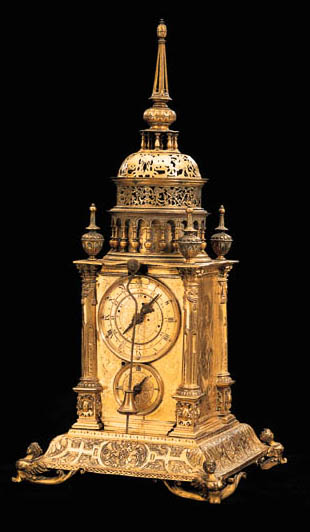 A GERMAN GILT-METAL STRIKING TOWER CLOCK