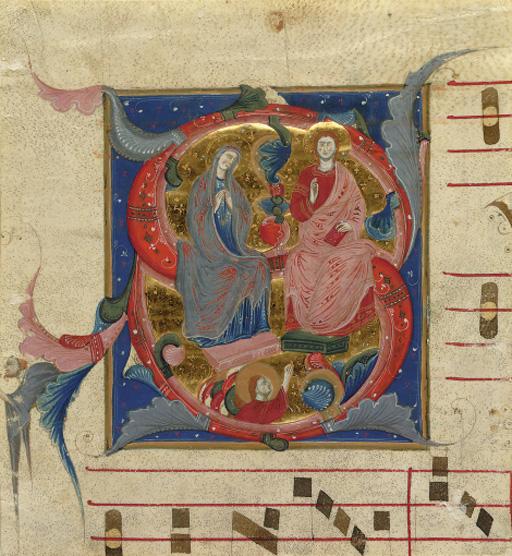 ASSUMPTION OF THE VIRGIN, initial 'S' cut from a choirbook, in Latin, ILLUMINATED MANUSCRIPT ON VELLUM
