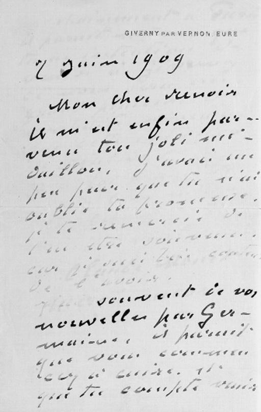 MONET, Claude (1840-1926). Autograph letter signed ('ton vieil ami Claude Monet') to AUGUSTE RENOIR, Giverny, 7 June 1909, 2 pages, 8vo, on a bifolium.