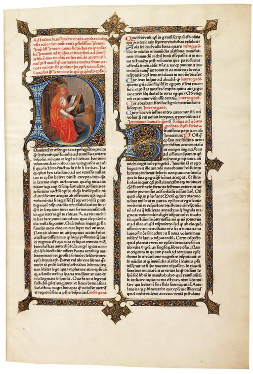 HIERONYMUS (St., c.342-420). Epistolare. Edited by Adrianus Brielis (d.1472). Mainz: Peter Schoeffer, 7 September 1470.