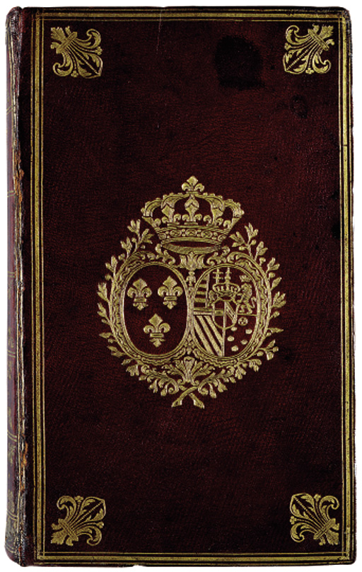 MARIE-ANTOINETTE, Queen of France (1755-1793)-- Laurent D'HOURY. Laurent. Almanach Royal, année commune M. DCC. LXXXX, edited by François-Jean-Noel Debure. [?Paris]: Widow of D'Houry and Debure, [c.1789]. 8° (217 x 128mm). Title with woodcut royal device, woodcut astronomical symbols, head- and tailpieces, the monthly tables interleaved with blue-paper leaves with printed borders, the same leaves bound in as additional front and rear endpapers. (Light browning and offsetting, small hole affecting text on O6.) Contemporary crushed maroon morocco, covers with gilt triple fillet border and fleur-de-lis corner-pieces enclosing the ARMS OF MARIE-ANTOINETTE as Queen of France [Olivier 2508 (fer 9), citing the present volume], gilt spine compartments with fleur-de-lis tools, gilt board edges and turn-ins, silk doublures, gilt edges (corners a little rubbed, board edges lightly bumped, partial cracking on joints, skilful restoration at head and tail of spine), modern box. Prov