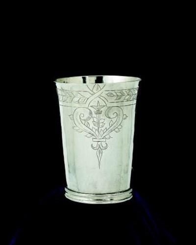 A Commonwealth silver beaker