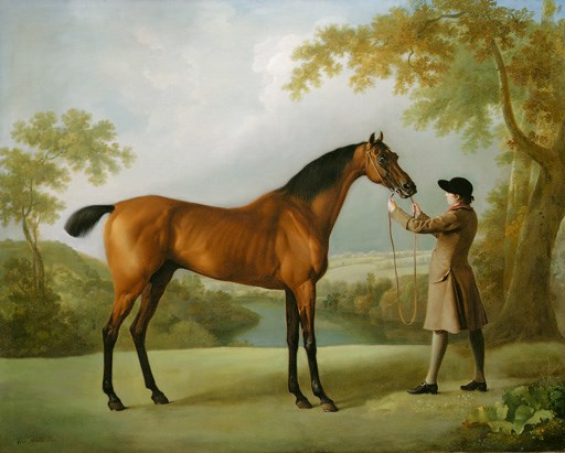 George Stubbs, A.R.A. (1724-1806), Tristram Shandy, a Bay Racehorse Held by a Groom, in an Extensive Landscape. Oil on canvas. 40 x 50  in (101.6 x 127  cm). Sold for £2,313,750 on 14 June 2000 at Christie's in London