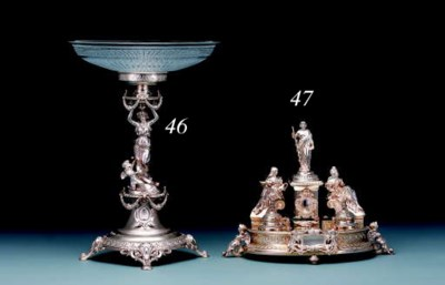 A German silver inkstand