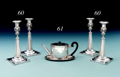 A Swiss silver teapot and stan