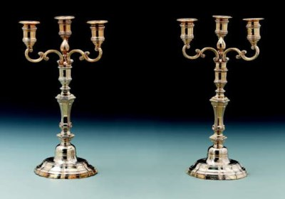A pair of French silver-gilt c