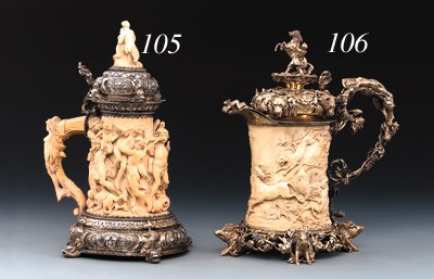 A German silver-mounted ivory