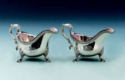 TWO SILVER SAUCEBOATS