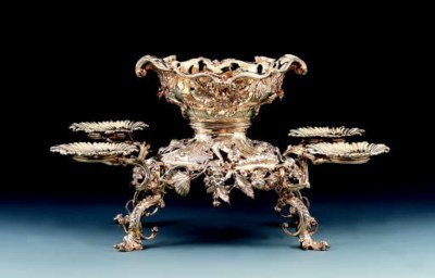 A George II silver-gilt epergn