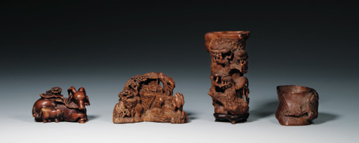 FOUR BAMBOO CARVINGS
