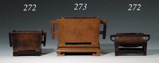 A LATE MING BRONZE RECTANGULAR CENSER AND STAND