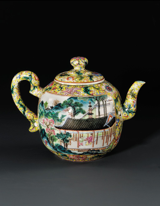 A FAMILLE ROSE YELLOW-GROUND TEAPOT AND COVER