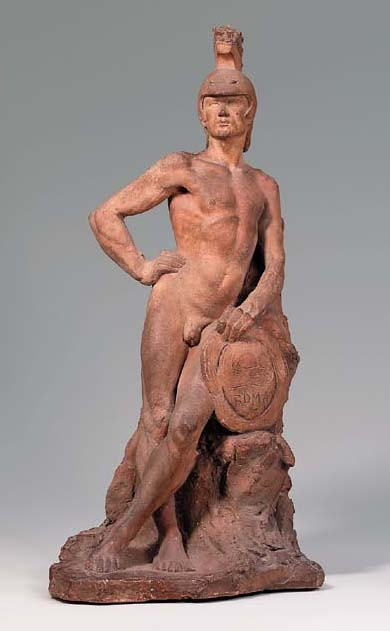 A TERRACOTTA FIGURE OF A STAND