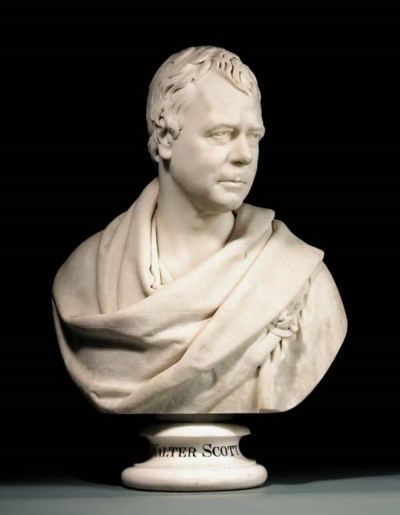 A MARBLE BUST OF SIR WALTER SC