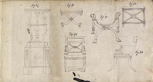 A SET OF DRAWINGS OF FURNITURE