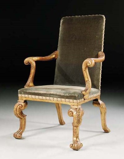 A GEORGE I GILT-GESSO OPEN ARM