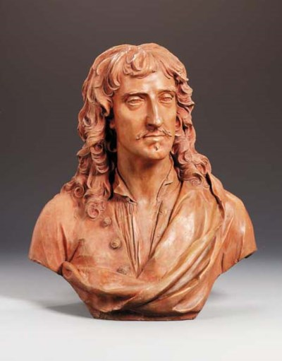 A GEORGE II TERRACOTTA BUST OF