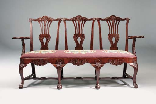 AN IRISH MAHOGANY TRIPLE CHAIR