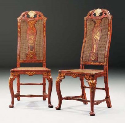 A PAIR OF GEORGE II RED AND GI